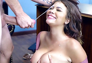 Bitchy Boss Cassidy Banks gets their way face blasted with cumshots