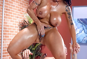Busty Sheridan Love squirts while riding Charles Dera's hard cock