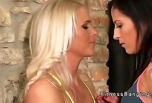 Hot tight Milfs have gym oral sex